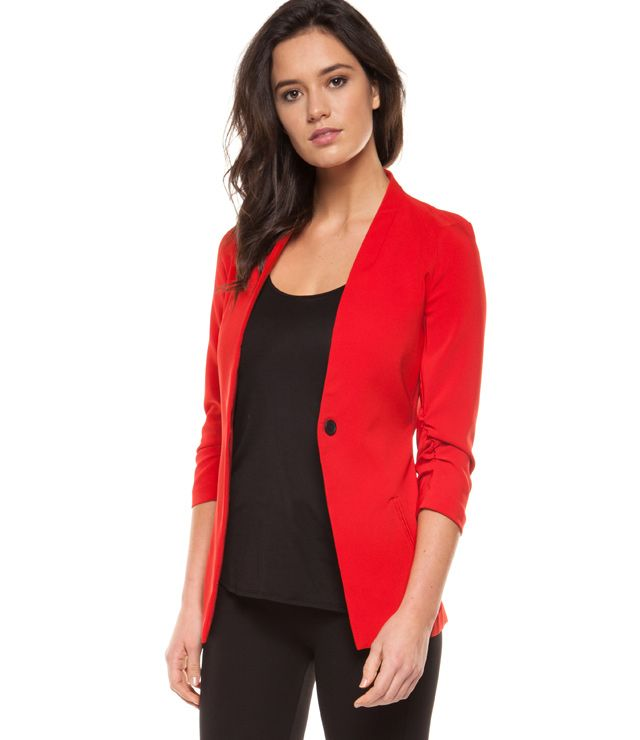 VESTON SPORT/CHIC MCH 3/4 PLISSÉ rouge