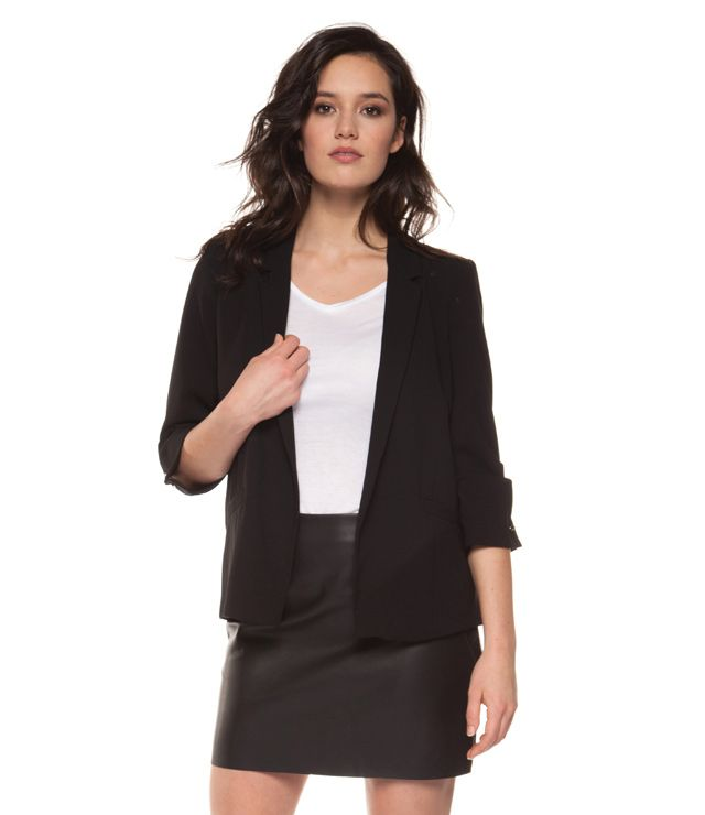 VESTON SPORT/CHIC MI-LONG MCH 3/4 PLISSÉ noir