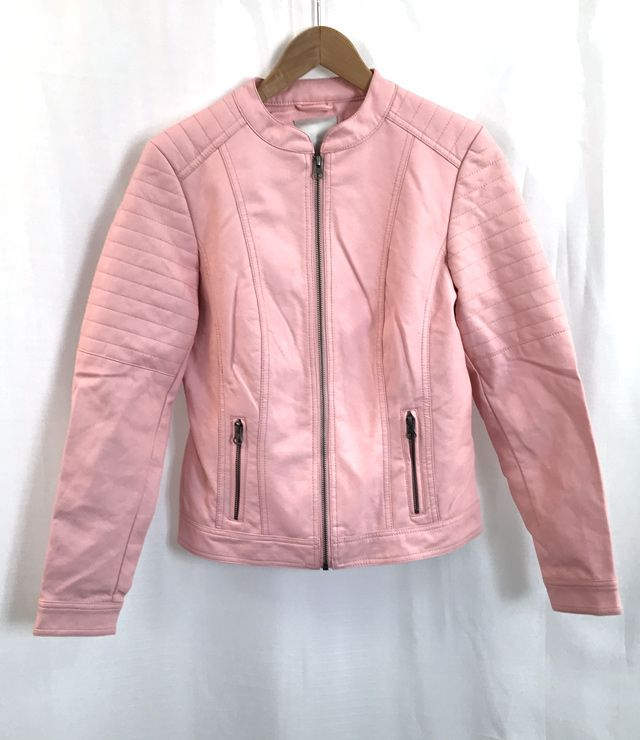 MANTEAU SIMILI-CUIR ZIP COL MAHO rose