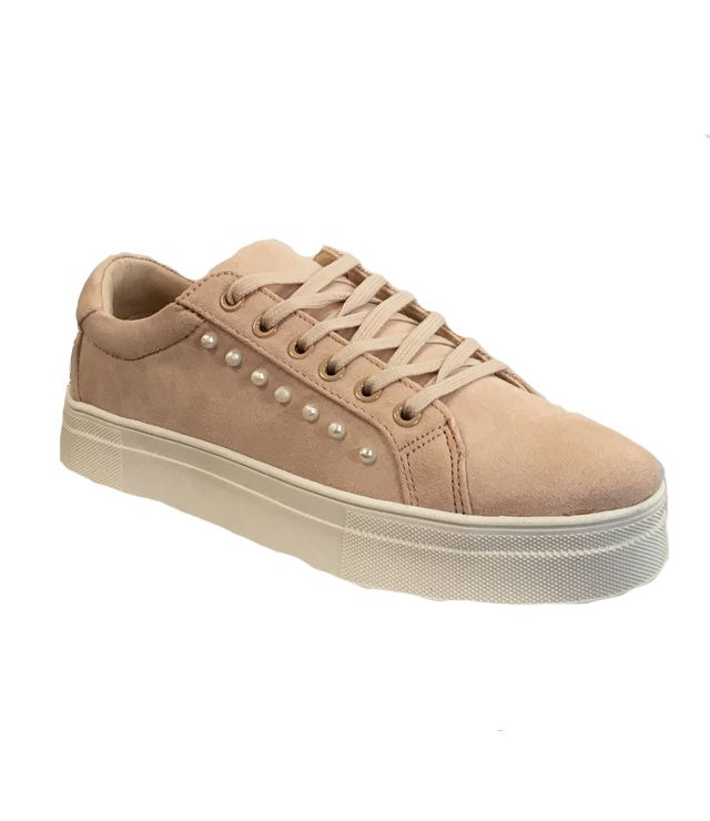 CHAUSSURE SPORT CHIC COMPENSÉE PERLE rose