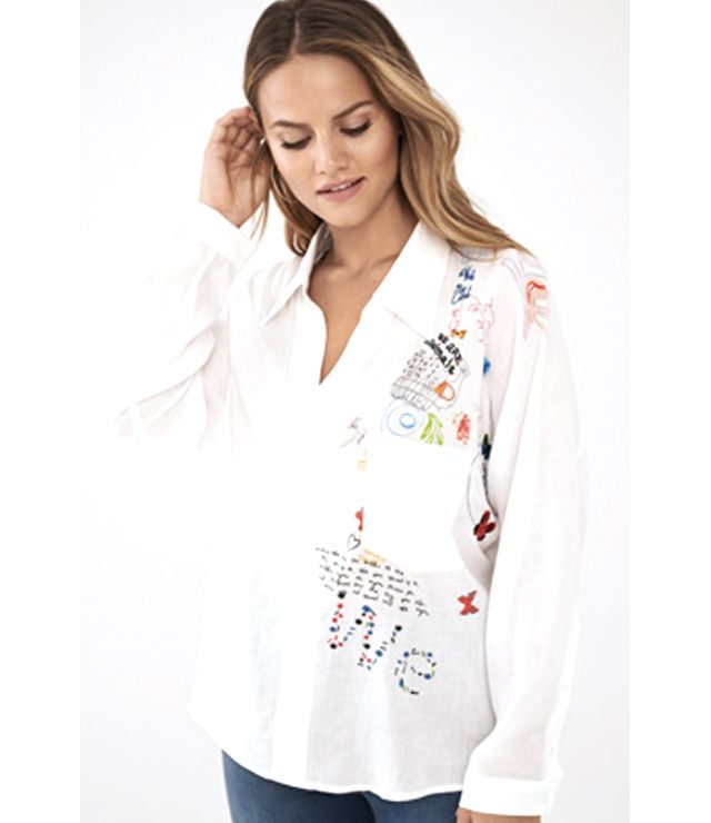 BLOUSE M.L. BOUTONS DESSINS BRODERIES blanc