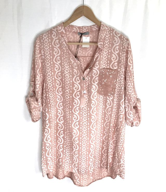 BLOUSE TUNIQUE POCHE BRILLANTE ROSE MILK