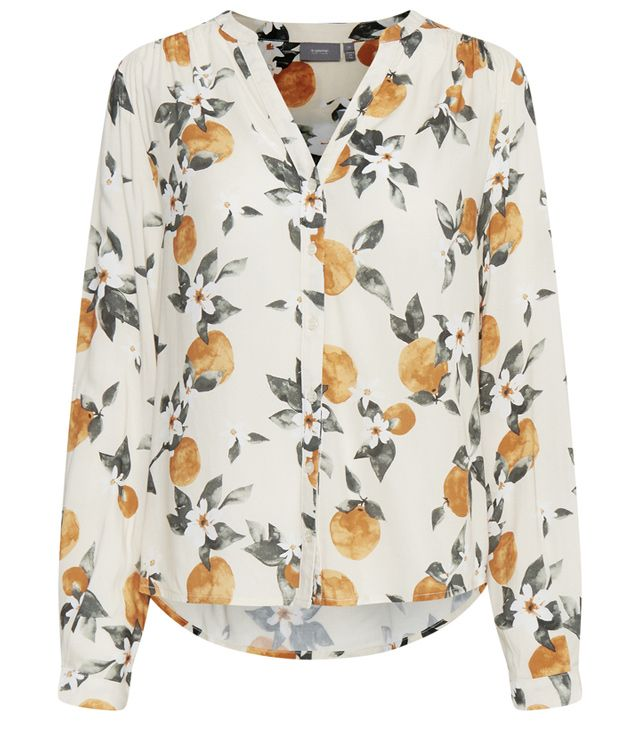 BLOUSE M.L. DESSINS ORANGES V NECK blanc cassé
