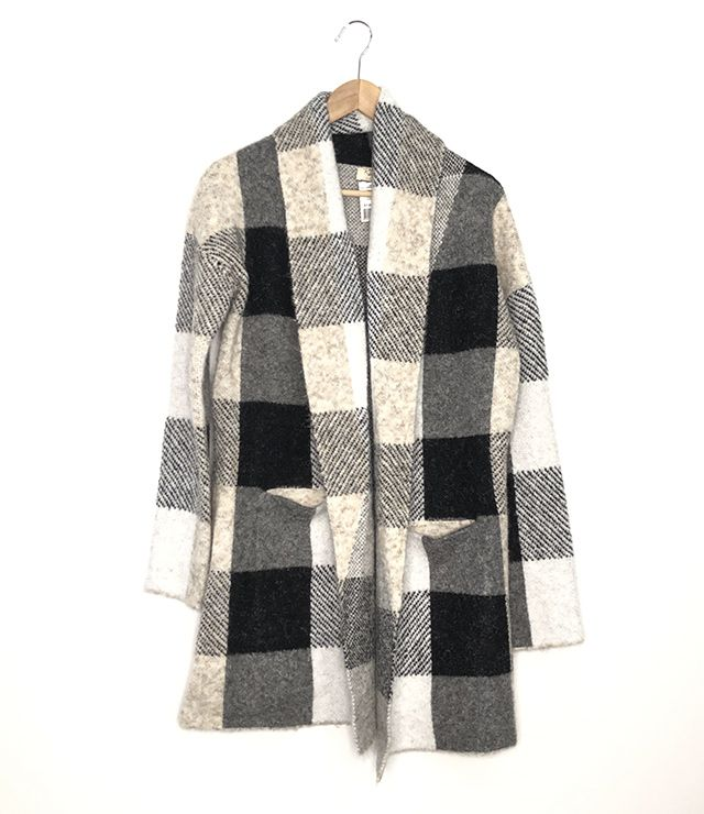 CARDIGAN LAINAGE OUVERT CARREAUX SABLE