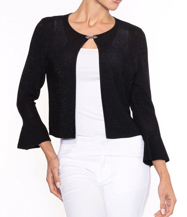 CARDIGAN CHIC PIERRE ATTACHE LUREX noir
