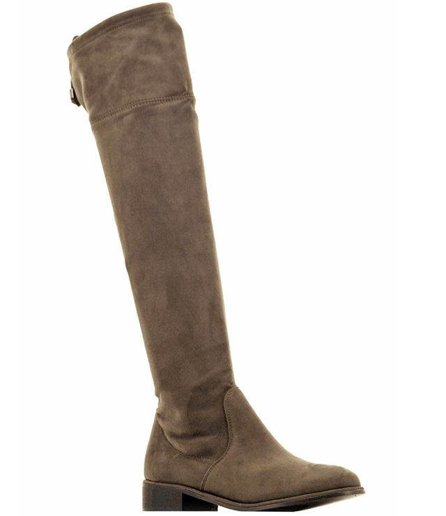 BOTTE LONGUE UNIE SIMILI SUEDE TAUPE