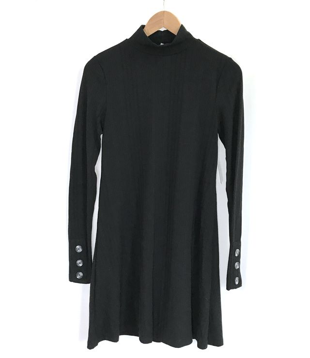 ROBE LONGUE COL MONTANT BOUTONS MANCHES noir