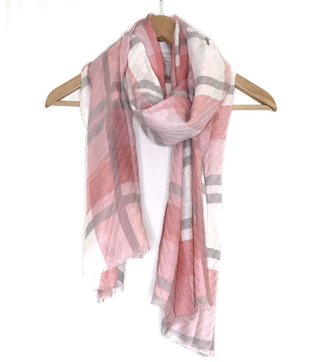FOULARD MOTIF LARGES CARREAUX rose