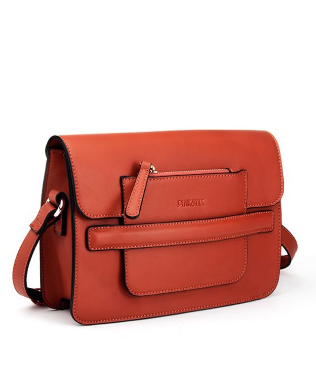 SAC A MAIN RECTANGULAIRE ZIP OR ROUILLE