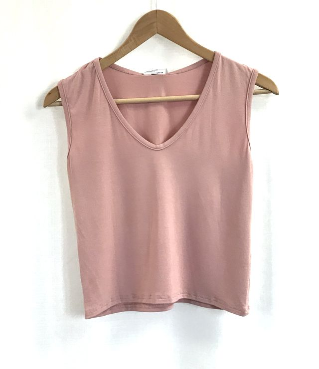 TOP CROP COL V UNI ROSE PÂLE