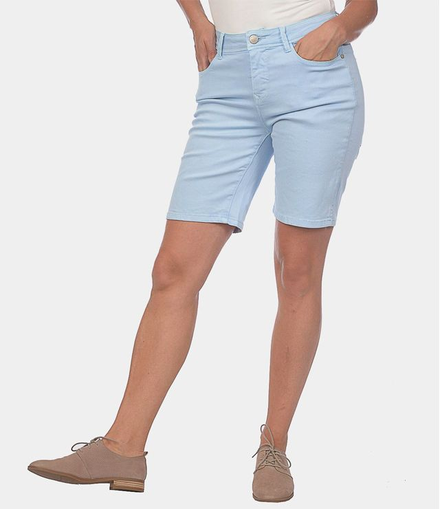 BERMUDA SHORT TAILLE HAUTE STRETCH BASIC bleu